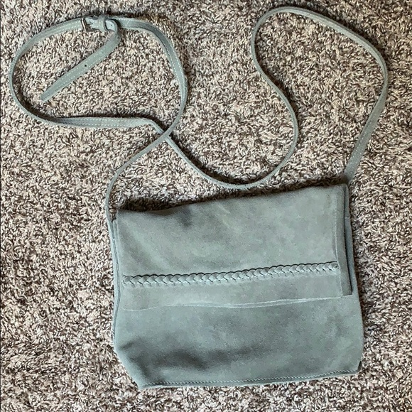 Handbags - Light green, suede purse